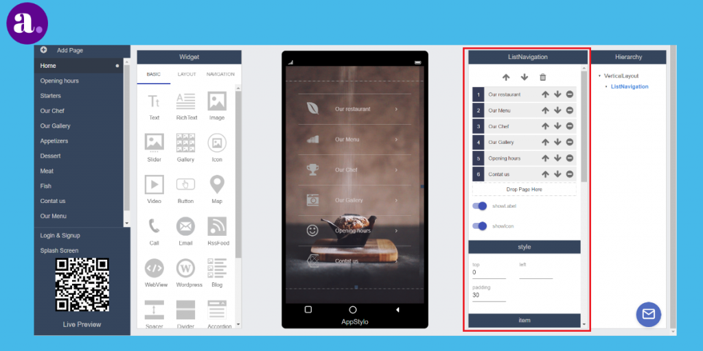 App builder to Create an app from scratch