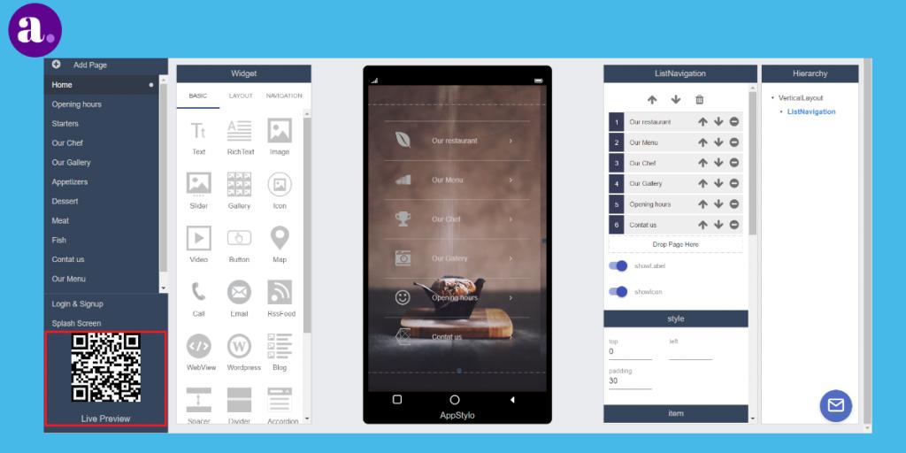 app builder - live preview