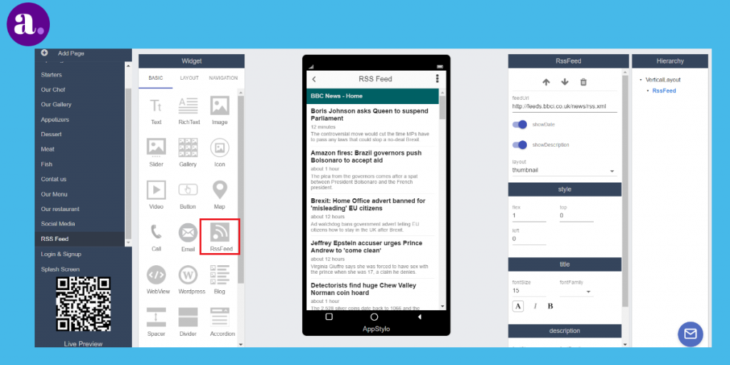 app builder - RSS feed for news app