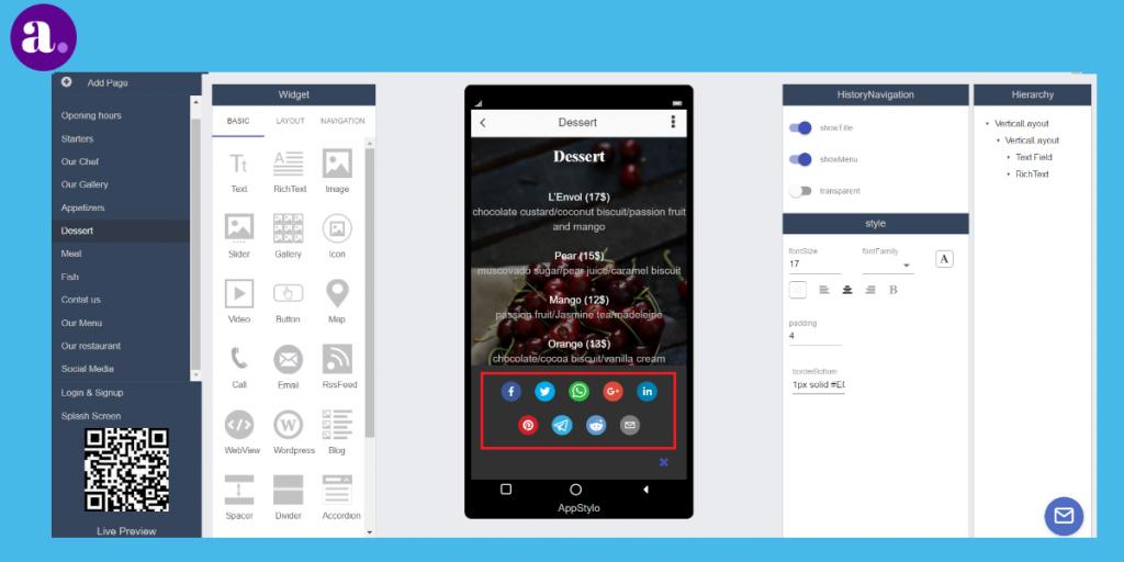 app builder - social media sharing button