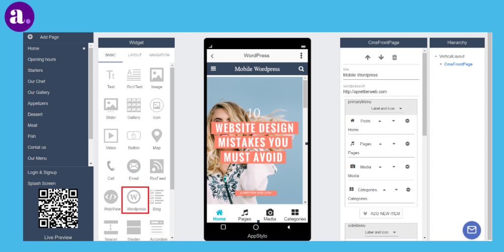 app builder - wordpress integrated